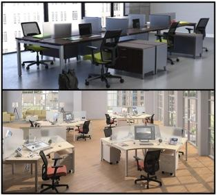 conference room table and individual office desks